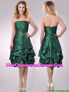 Classical Taffeta Strapless Bubble Dama Dress in Dark Green