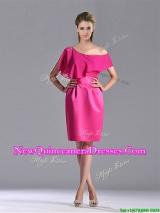 Latest Column One Shoulder Hot Pink Dama Dress with Zipper Up