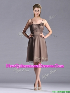 Popular Chiffon Brown Short Dama Dress with Spaghetti Straps