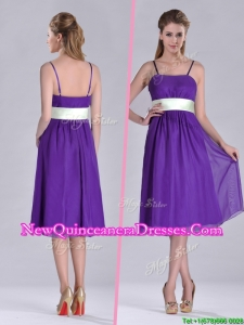 Romantic Spaghetti Straps Belted Eggplant Purple Dama Dress in Tea Length