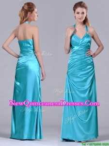 2016 Column Halter Top Elastic Woven Satin Aqua Blue Dama Dress with Ruching