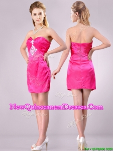Discount Applique with Beading and Rhinestoned Dama Dress in Hot Pink