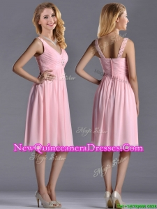 Lovely Empire V Neck Baby Pink Short Dama Dress with Beading