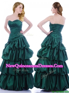 Popular A Line Ruched and Bubble Dama Dress in Hunter Green