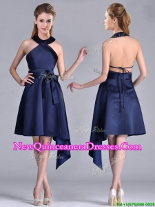 Elegant Halter Top Asymmetrical Navy Blue Dama Dress in Satin