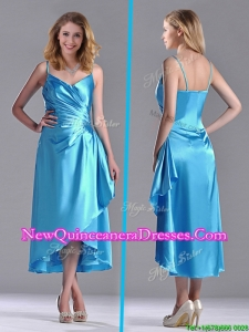 Classical Spaghetti Straps Baby Blue Dama Dress in Tea Length