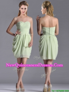 Popular Ruched Decorated Bodice Short Dama Dress in Yellow Green