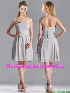 Lovely Empire Strapless Chiffon Grey Dama Dress with Hand Made Flower