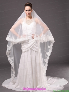 Romantic One-tier Cathedral Wedding Veil With Lace Applique Edge