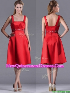 Best Selling Square Beaded Decorated Waist Dama Dress in Knee Length