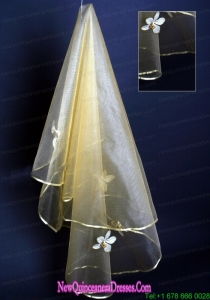 Champagne Hand Made Flowers Wedding Veil