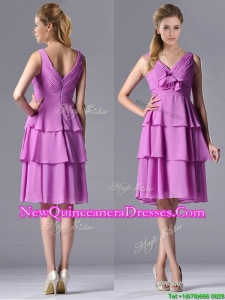 Classical V Neck Lilac Dama Dress with Handcrafted Flower and Ruching