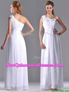 Elegant Empire Hand Crafted Side Zipper White Dama Dress with One Shoulder