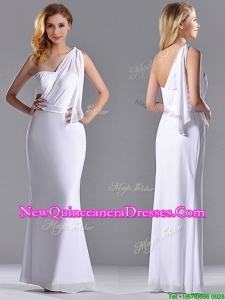Exclusive Column White Chiffon Backless Dama Dress with One Shoulder