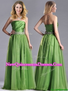 Exclusive Strapless Beaded Decorated Waist Dama Dress with Side Zipper