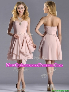 Exclusive Sweetheart Chiffon Beaded Dama Dress in Light Pink