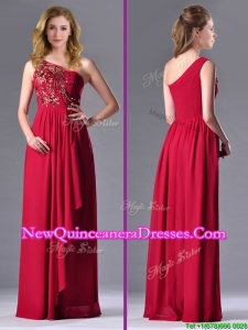 Fashionable Empire One Shoulder Sequins Red Dama Dress with Side Zipper