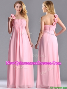 New Style Baby Pink Dama Dress with Handcrafted Flowers Decorated One Shoulder