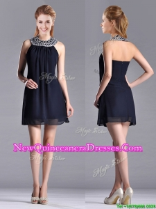 Popular Black Short Dama Dress with Beaded Decorated Halter Top
