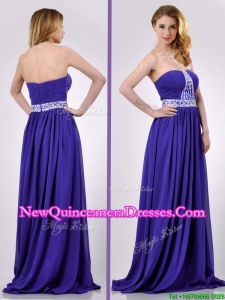 Empire Strapless Beaded Purple Long Dama Dress for Evening