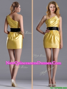 Exclusive One Shoulder Ruched and Belted Dama Dress with Side Zipper