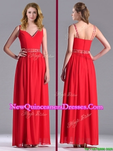 Fashionable V Neck Ankle Length Dama Dress with Beaded Decorated Waist