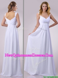Hot Sale Empire Beaded White Chiffon Dama Dress with Straps