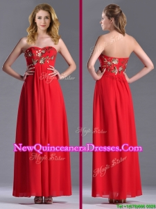 Luxurious Applique with Sequins Red Dama Dress in Ankle Length