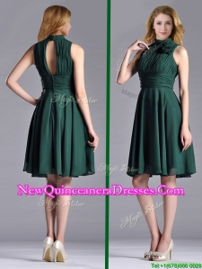 New High Neck Handmade Flower Dark Green Dama Dress with Open Back