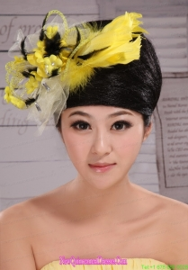 Fashionable Yellow and Black Feather Tulle Women s Fascinators