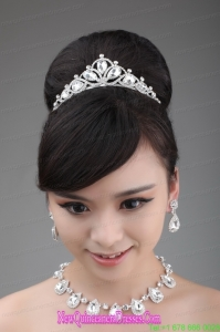 High Quality Rhinestone Dignified Ladies Necklace and Tiara