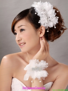 Imitation Pearls With Crystals Women s Fascinators Hairband And Wrist Corsage