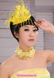 Pretty Yellow Beading Feather Flower Women s Fascinators For Party