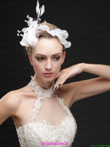 Pure White Flower Bridal Net With Feather Women s Fascinators