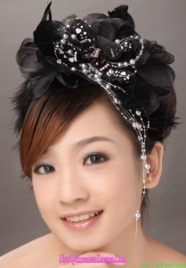 Modest Black Organza Beading Women s Fascinators