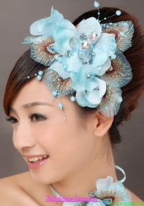 Popular Light Blue Taffeta Tulle Feather Beading Women s Fascinators