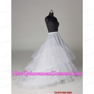 Hot Selling Organza A Line Sweep Train White Petticoat