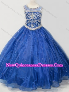 2016 Beautiful Beaded Bodice Open Back Little Girl Pageant Dress in Royal Blue