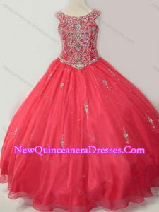 2016 Hot Sale Puffy Scoop Little Girl Pageant Dress with Beading in Coral Red