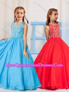 2016 Most Popular Pincess Scoop Beaded Aqua Blue and Red Little Girl Pageant Dress