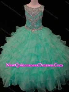 2016 New Arrivals Mint Scoop Little Girl Pageant Dress with Beading and Ruffled Layers