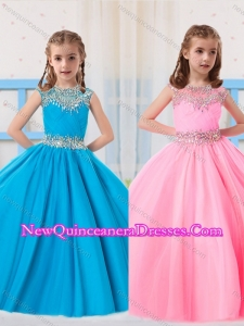 2016 Pretty Ball Gowns Scoop Beading Baby Blue and Baby Pink Short Sleeves Little Girl Pageant Dress