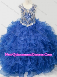 2016 Puffy Skirt V-neck Beaded and Ruffled Layers Little Girl Pageant Dress with Straps