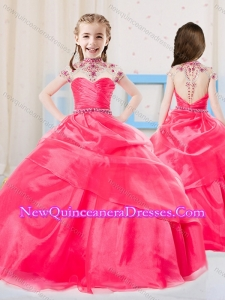 2016 Sweet Ball Gown High Neck Organza Coral Red Little Girl Pageant Dress with Beading