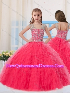 2016 Sweet Ball Gowns Scoop Long Coral Red Little Girl Pageant Dress with Beading