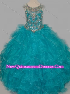 Cheap Really Puffy V-neck Teal Little Girl Pageant Dress with Rhinestones and Straps