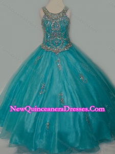 New Arrival Ball Gown Scoop Organza Long Lace Up Little Girl Pageant Dress with Beading