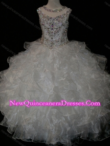 Princess Ball Gown Scoop Beaded Bodice Lace Up Little Girl Pageant Dress in White