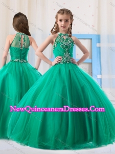 Top Selling Ball Gowns Halter Beaded Little Girl Pageant Dress in Turquoise
