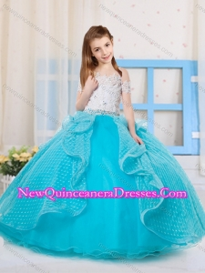 Unique Princess Off the Shoulder Polka Dot Little Girl Pageant Dress in Aqua Blue